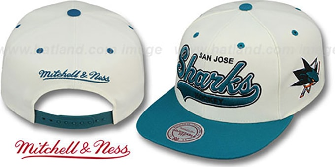 Sharks '2T TAILSWEEPER SNAPBACK' White-Teal Hat by Mitchell and Ness : pictured without stickers that these products are shipped with