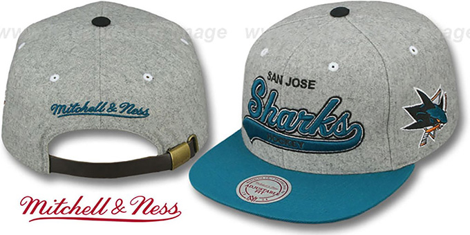 Sharks '2T TAILSWEEPER STRAPBACK' Grey-Teal Hat by Mitchell & Ness : pictured without stickers that these products are shipped with