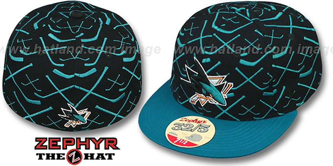 Sharks '2T TOP-SHELF' Black-Teal Fitted Hat by Zephyr : pictured without stickers that these products are shipped with