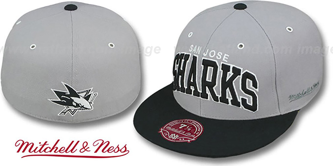Sharks '2T XL-WORDMARK' Grey-Black Fitted Hat by Mitchell & Ness : pictured without stickers that these products are shipped with