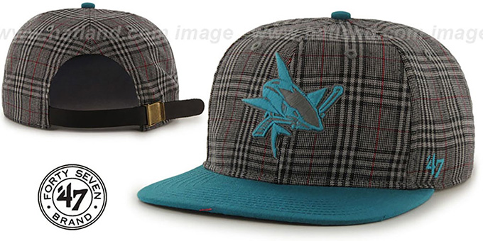 Sharks '60-MINUTES STRAPBACK' Teal Hat by Twins 47 Brand : pictured without stickers that these products are shipped with