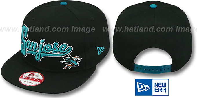 Sharks 'BLOCK-SCRIPT SNAPBACK' Black Hat by New Era : pictured without stickers that these products are shipped with