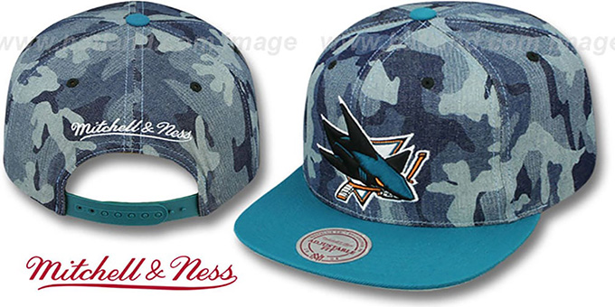 Sharks 'DENIM-CAMO SNAPBACK' Blue Hat by Mitchell and Ness : pictured without stickers that these products are shipped with