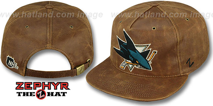 Sharks 'DYNASTY LEATHER STRAPBACK' Brown Hat Zephyr : pictured without stickers that these products are shipped with