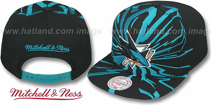 Sharks 'EARTHQUAKE SNAPBACK' Black Hat by Mitchell & Ness : pictured without stickers that these products are shipped with