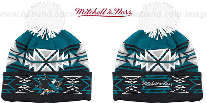 Sharks 'GEOTECH' Knit Beanie by Mitchell and Ness : pictured without stickers that these products are shipped with