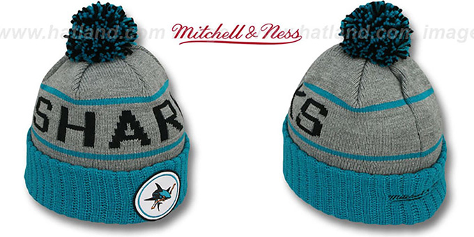 Sharks 'HIGH-5 CIRCLE BEANIE' Grey-Teal by Mitchell and Ness : pictured without stickers that these products are shipped with