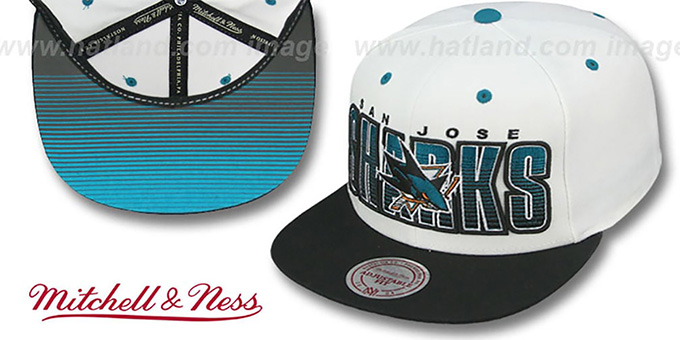 Sharks 'HOMESTAND SNAPBACK' White-Black Hat by Mitchell and Ness : pictured without stickers that these products are shipped with