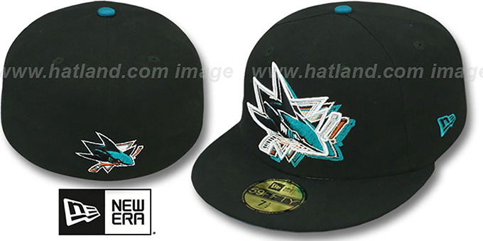 Sharks 'ILLUSION' Black Fitted Hat by New Era : pictured without stickers that these products are shipped with