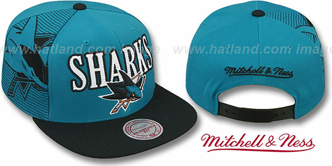 Sharks 'LASER-STITCH SNAPBACK' Teal-Black Hat by Mitchell and Ness : pictured without stickers that these products are shipped with