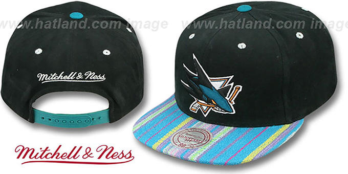 Sharks 'NATIVE-STRIPE SNAPBACK' Black Hat by Mitchell & Ness : pictured without stickers that these products are shipped with