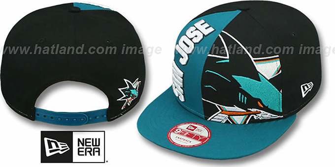 Sharks 'NE-NC DOUBLE COVERAGE SNAPBACK' Hat by New Era : pictured without stickers that these products are shipped with
