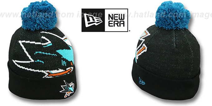 Sharks 'NHL-BIGGIE' Black Knit Beanie Hat by New Era : pictured without stickers that these products are shipped with