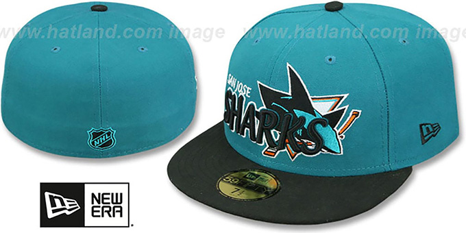 Sharks 'NHL-TIGHT' Teal-Black Fitted Hat by New Era : pictured without stickers that these products are shipped with