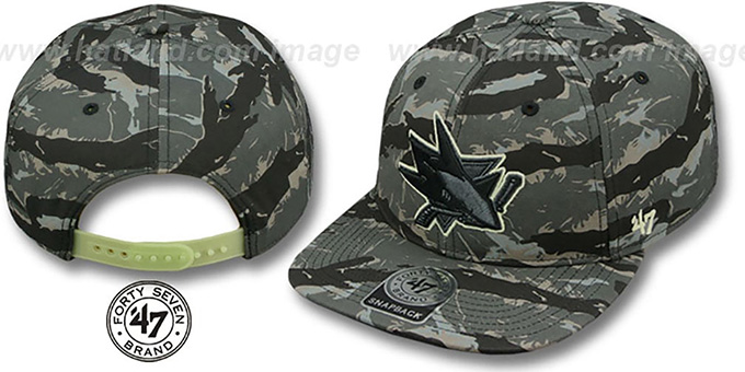 Sharks 'NIGHT-VISION SNAPBACK' Adjustable Hat by Twins 47 Brand : pictured without stickers that these products are shipped with