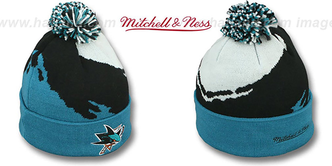 Sharks 'PAINTBRUSH BEANIE' by Mitchell and Ness : pictured without stickers that these products are shipped with