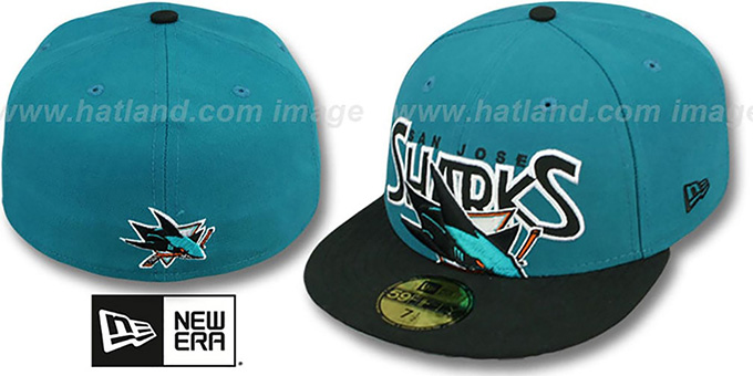 Sharks 'PROFILIN' Teal-Black Fitted Hat by New Era : pictured without stickers that these products are shipped with