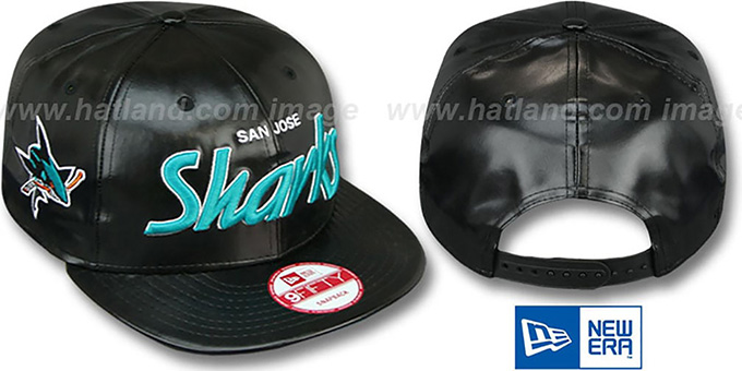 Sharks 'REDUX SNAPBACK' Black Hat by New Era : pictured without stickers that these products are shipped with