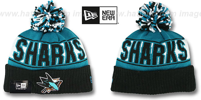 Sharks 'REP-UR-TEAM' Knit Beanie Hat by New Era : pictured without stickers that these products are shipped with