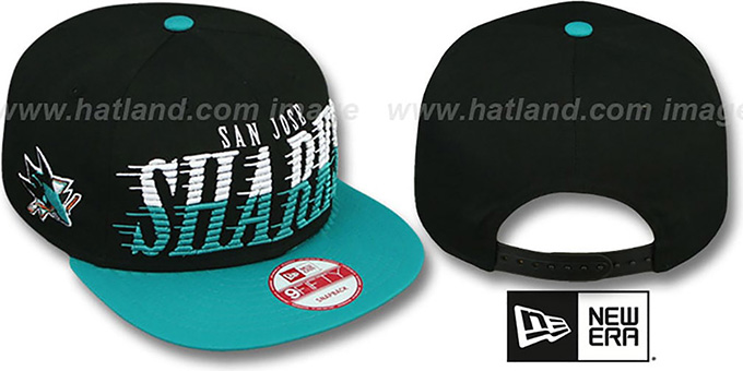Sharks 'SAILTIP SNAPBACK' Black-Teal Hat by New Era : pictured without stickers that these products are shipped with
