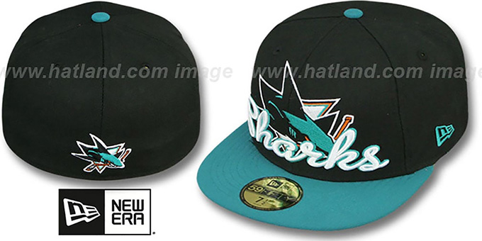 Sharks 'SCRIPT-PUNCH' Black-Teal Fitted Hat by New Era : pictured without stickers that these products are shipped with