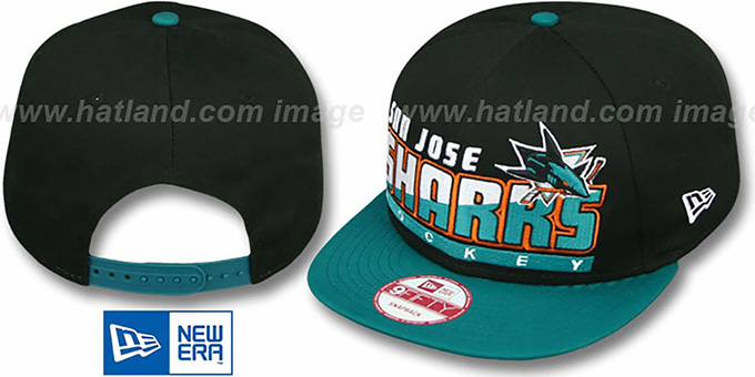 Sharks 'SLICE-N-DICE SNAPBACK' Black-Teal Hat by New Era : pictured without stickers that these products are shipped with