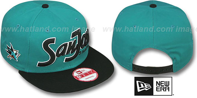 Sharks 'SNAP-IT-BACK SNAPBACK' Teal-Black Hat by New Era : pictured without stickers that these products are shipped with
