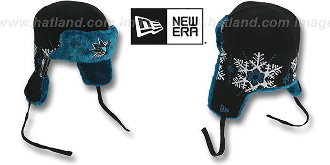 Sharks 'SNOWFLAKE TRAPPER' Black-Teal Knit Hat by New Era : pictured without stickers that these products are shipped with