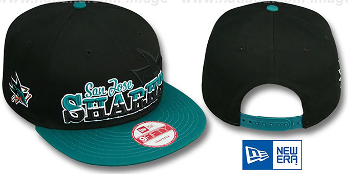 Sharks 'SPLIT-BLOCK SNAPBACK' Black-Teal Hat by New Era : pictured without stickers that these products are shipped with