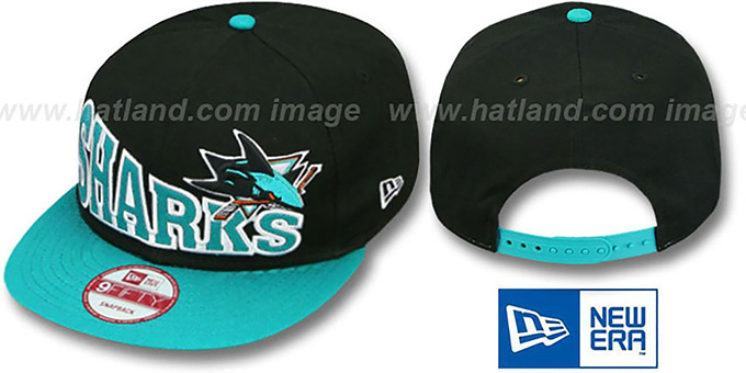 Sharks 'STOKED SNAPBACK' Black-Teal Hat by New Era : pictured without stickers that these products are shipped with