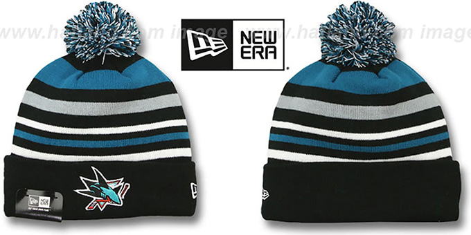 Sharks 'STRIPEOUT' Knit Beanie Hat by New Era : pictured without stickers that these products are shipped with