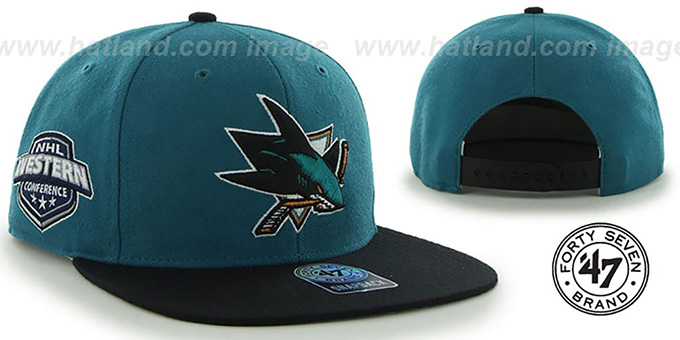 Sharks 'SURE-SHOT SNAPBACK' Teal-Black Hat by Twins 47 Brand : pictured without stickers that these products are shipped with
