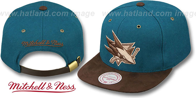 Sharks 'TC-BROWN SUEDE STRAPBACK' Hat Mitchell & Ness : pictured without stickers that these products are shipped with