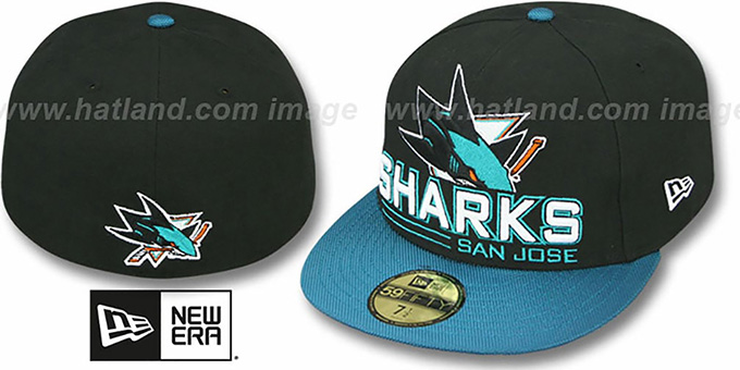 Sharks 'TECH MARK' Black-Teal Fitted Hat by New Era : pictured without stickers that these products are shipped with