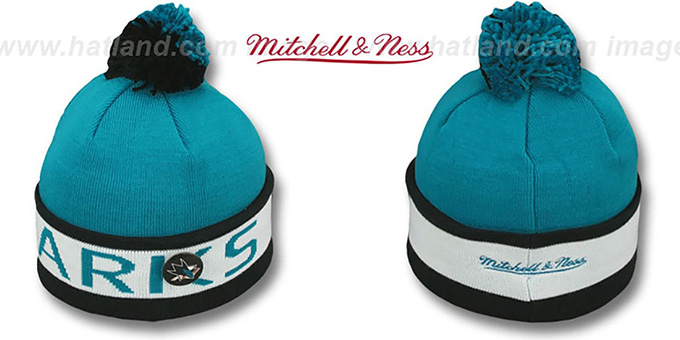 Sharks 'THE-BUTTON' Knit Beanie Hat by Michell & Ness : pictured without stickers that these products are shipped with