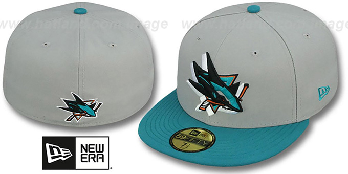 Sharks 'TRACE-POP' Grey-Teal Fitted Hat by New Era : pictured without stickers that these products are shipped with