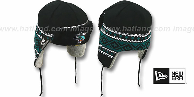 Sharks 'TRAPPER' Black Knit Hat by New Era : pictured without stickers that these products are shipped with