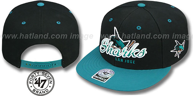Sharks 'TRICKY LOU SNAPBACK' Black-Teal Hat by Twins 47 Brand : pictured without stickers that these products are shipped with