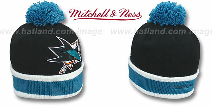 Sharks 'XL-LOGO BEANIE' Black by Mitchell and Ness : pictured without stickers that these products are shipped with