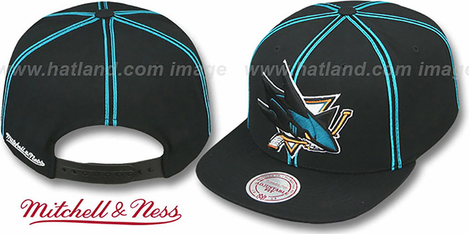 Sharks 'XL-LOGO SOUTACHE SNAPBACK' Black Adjustable Hat by Mitchell and Ness : pictured without stickers that these products are shipped with