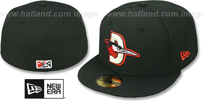 Shorebirds 'PERFORMANCE ROAD' Black Fitted Hat by New Era : pictured without stickers that these products are shipped with