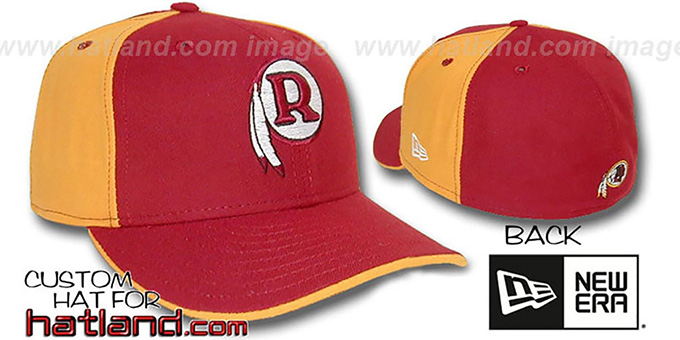 Skins THROWBACK 'PINWHEEL' Burgundy-Gold Fitted Hat : pictured without stickers that these products are shipped with