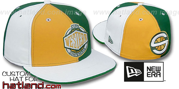 Sonics 'CONFERENCE PINWHEEL' Gold-Green-White Fitted Hat : pictured without stickers that these products are shipped with