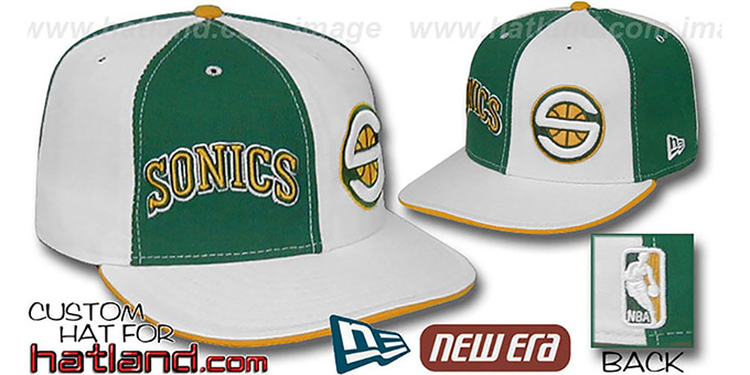 Sonics 'DOUBLE WHAMMY' Kelly-White Fitted Hat : pictured without stickers that these products are shipped with