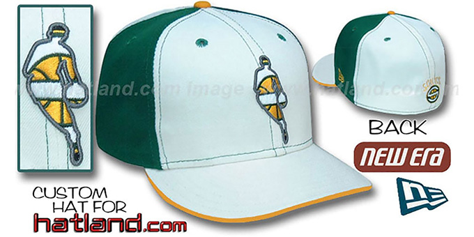 Sonics 'INSIDER PINWHEEL' White-Kelly Fitted Hat by New Era : pictured without stickers that these products are shipped with