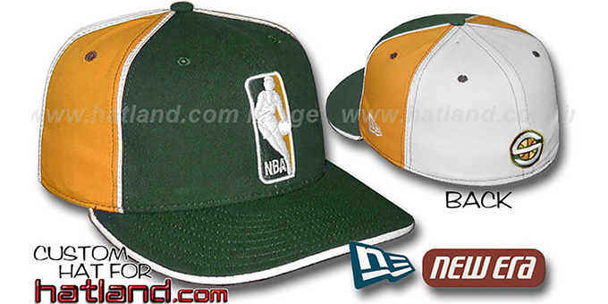 Sonics 'LOGOMAN-2' Green-Gold-White Fitted Hat by New Era : pictured without stickers that these products are shipped with