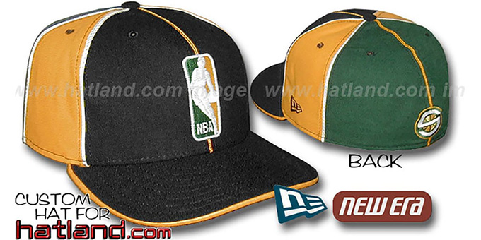 Sonics 'LOGOMAN-3' Black-Gold-Green Fitted Hat by New Era : pictured without stickers that these products are shipped with