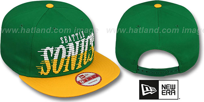 Sonics 'SAILTIP SNAPBACK' Green-Gold Hat by New Era : pictured without stickers that these products are shipped with