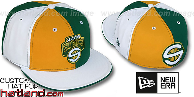 Sonics TWO BIG 'PINWHEEL' Gold-Green-White Fitted Hat : pictured without stickers that these products are shipped with