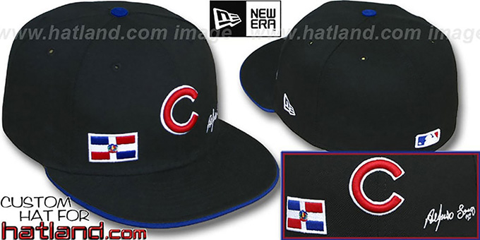 Soriano 'TRIPLE THREAT' Black Fitted Hat by New Era : pictured without stickers that these products are shipped with